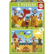 Educa 2x48 Parça Çocuk Puzzle (Dragons and Knights)