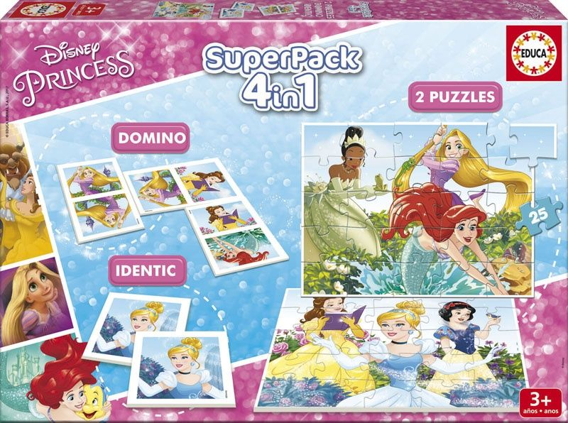 Educa 17198 Superpack - Domino+Memory+2 Puzzle (Disney Princess)