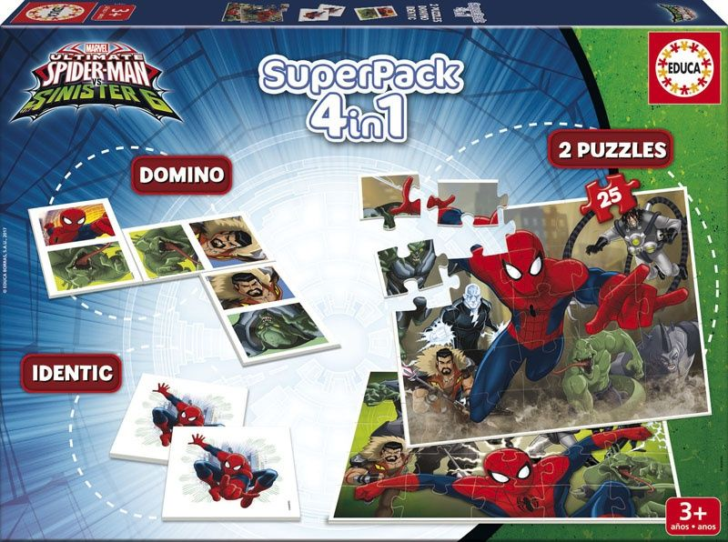 Educa Spiderman Oyun Seti (Domino + Memory + 2 Puzzle)