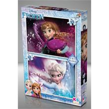 KS Games 2 İn 1 Çocuk Puzzle Disney Frozen 35+60
