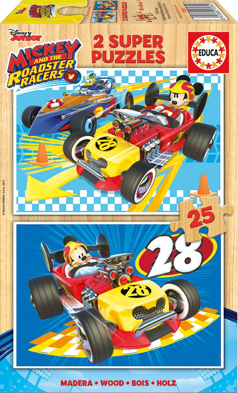 Educa 17234 - 2x25 Parça Mickey and The Roadster Racers Ahşap Puzzle