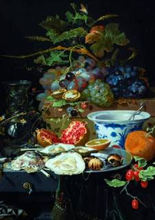 Fame 1000 Parça Deluxe Still Life Fruit,Oysters And A Porcelain Bowl