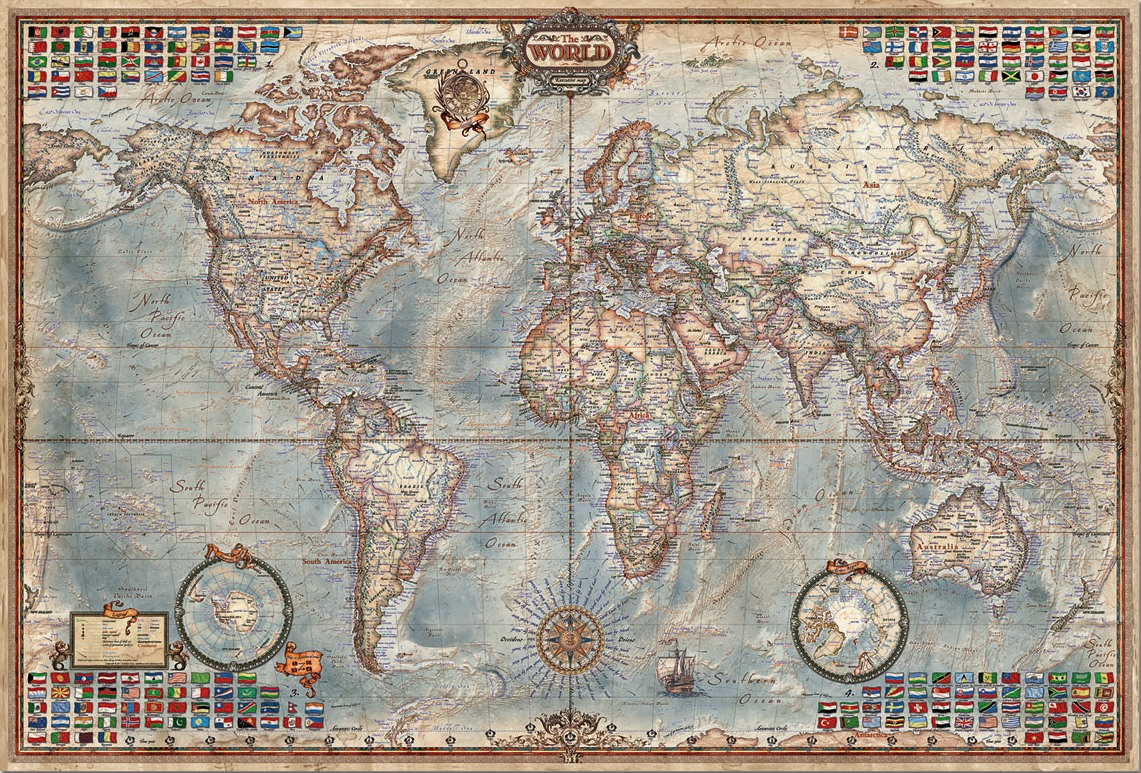 Educa 4000 Parça Puzzle The World, Executive Map