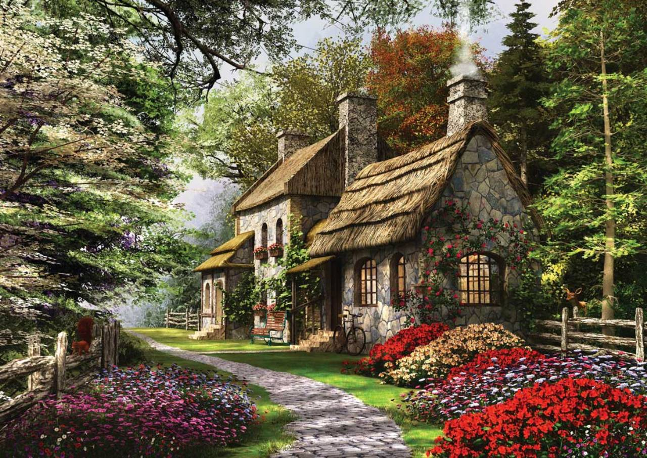 Ks Games 1000 Parça Puzzle Carnation Cottage