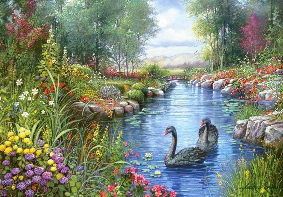 Castorland puzzle 1500 par a black swans andres orpinas for Garden pool crossword
