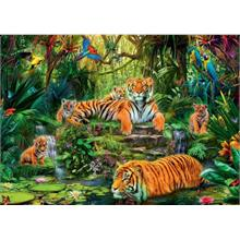 Jumbo 1000 Parça Puzzle Tiger Family At The Waterhole