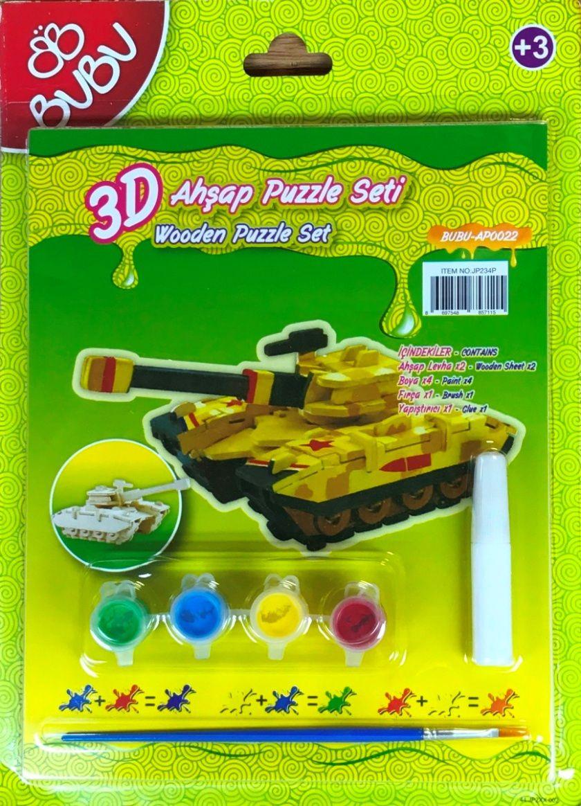 Bubu 3d Ahsap Maket Puzzle Boyama Seti Tank Bubu Bbap0022